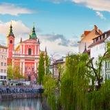 Romantic medieval Ljubljana, Slovenia, Europe. Romantic medieval Ljubljana's city center, capital of Slovenia, Europe. Banks of river Ljubljanica where many Stock Photo