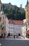 Romantic medieval Old city center. Ljubljana, Slovenia. Romantic medieval Old city center. Ljubljana - cultural, educational, economic, political and Royalty Free Stock Image