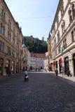Romantic medieval Old city center. Ljubljana, Slovenia. Romantic medieval Old city center. Ljubljana - cultural, educational, economic, political and Stock Photo