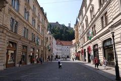 Romantic medieval Old city center. Ljubljana, Slovenia Royalty Free Stock Images