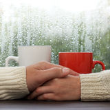 Romantic meeting in a cafe stock photos