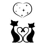 Romantic meeting of cats monochrome illustration. Stock Photography