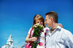 Romantic meeting guys and girls Stock Images
