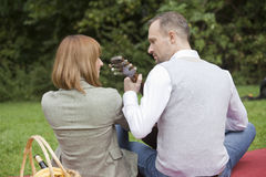 Romantic meeting outdoors Stock Images