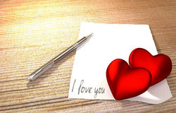 Romantic message on wooden table Royalty Free Stock Photography