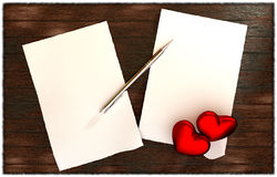 Romantic message on wooden table template Stock Image