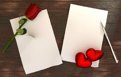 Romantic message on wooden table template Royalty Free Stock Photography