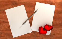 Romantic message on wooden table Stock Photos