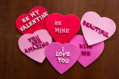 Romantic messages on hearts stock image