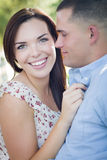 Romantic Mixed Race Couple Portrait in the Park Stock Photography