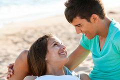 Romantic moment on beach. Royalty Free Stock Photo