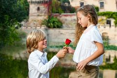 Romantic moment at lakeside. Royalty Free Stock Image