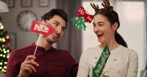 Romantic moment for loving couple in Christmas time