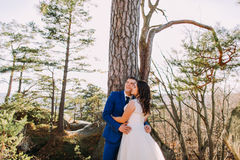 Romantic moment of newlywed couple under tree. Forest landscape as backround Royalty Free Stock Image