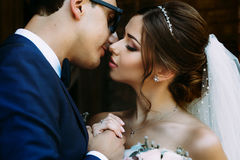 Romantic moment of the young married couple Stock Images