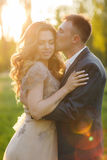 Romantic moments of a young wedding couple on summer meadow Stock Image