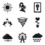 Romantic mood icons set, simple style. Romantic mood icons set. Simple set of 9 romantic mood vector icons for web isolated on white background Royalty Free Stock Images