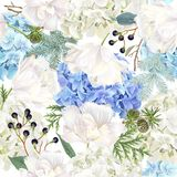 Romantic mood seamless pattern. Vector floral seamless pattern with blue hydrangea, tulip flowers, conifer branches on white. Romantic background winter design Royalty Free Stock Photography