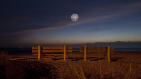 Romantic Moon at the Beach Royalty Free Stock Photography