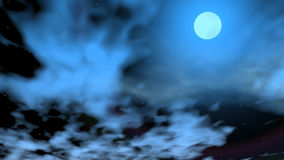 Romantic moon - 3D render. Beautiful full moon in dark sky with stars and moving blue clouds stock illustration