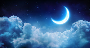 Romantic Moon In Starry Night. Over Clouds Stock Photos