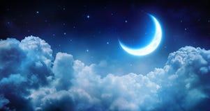 Romantic Moon In Starry Night Stock Photos