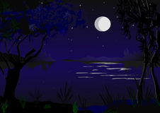 Romantic moonlight. Moon is reflecting into water Stock Image