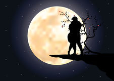 Romantic moonlight beautiful. Vector illustrations Stock Photo