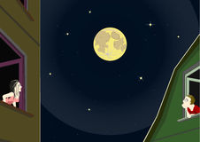 Romantic moonlight night. Guy and a girl admiring the full moon from the windows of their homes to against each other Royalty Free Stock Photo