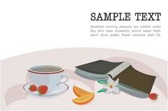 Romantic morning. Vector drawing of the romantic still-life with book, cup of herbal tea, strawberries, orange and orchid flower Royalty Free Stock Images