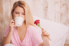 Romantic morning with coffee in bed Royalty Free Stock Photo
