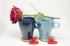 Romantic Morning. Hot Coffee for Two. Romantic Morning. Happy Valentine`s Day Stock Image