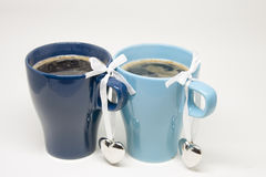 Romantic Morning. Hot Coffee for Two. With Love Stock Photo
