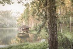 Romantic morning scenery of Huai Pang tong Reservoir and pine forests at Pang Oung,Pang Tong Royal Development Project,Ban Ruam Th Stock Images