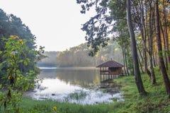 Romantic morning scenery of Huai Pang tong Reservoir and pine forests at Pang Oung,Pang Tong Royal Development Project,Ban Ruam Th Royalty Free Stock Image