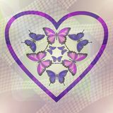 Romantic motif with butterflies in heart on halftone background Royalty Free Stock Images