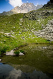 Romantic mountain lake in Alps Stock Photo