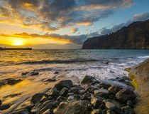 Spectacular sunset over the ocean, romantic, multi-colored sunset in Tenerife, Los Gigantes cliffs. Romantic, multi-colored sunset in Tenerife, Los Gigantes Royalty Free Stock Photo