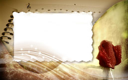 Romantic musical background with frame Stock Images