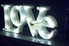 Romantic neon love sign at night Royalty Free Stock Photography