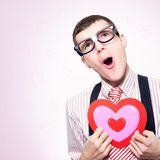 Romantic Nerd Dreaming Of A Long Lost Love Stock Photography