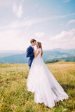 Romantic newlywed bride and groom posing on sunny grass field. Distant forest hills with marvelous sky as background.  Royalty Free Stock Photography
