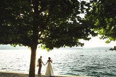 Romantic newlywed couple bride and groom at sunset beach near se Stock Images