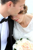 Romantic newlywed couple. Cloese up portrait of romantic newlywed couple Stock Image