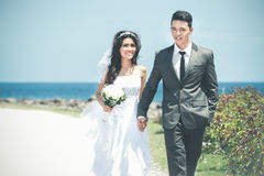 Romantic newlywed couple holding hand and walking at seashore. Portrait of romantic newlywed couple holding hand and walking at seashore in sunny day Royalty Free Stock Image