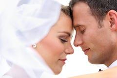 Romantic newlywed couple. Portrait of romantic newlywed couple Stock Image