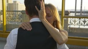 Romantic newlywed couple spinning in dance stock footage
