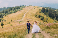 Romantic newlywed couple walking on trail across yellow sunny field with forest hills as background Stock Photos