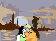 Romantic night. Illustration : Younge couple in love, on the Gondole in Venice, Italy Stock Images