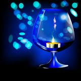 Romantic night with candlelight and bokeh background.  Stock Photos